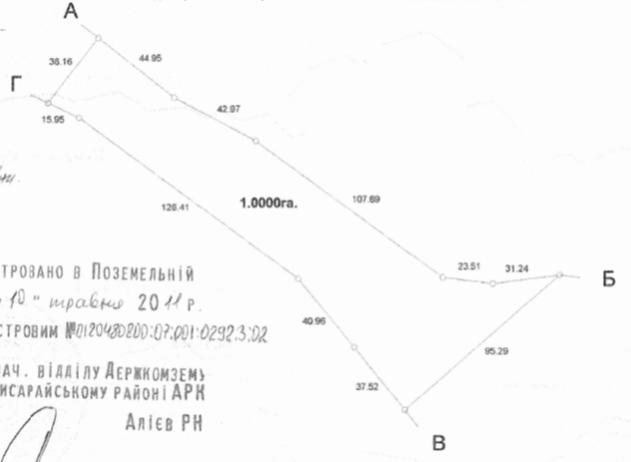 Земельна ділянка S=1.0000га, для ведення особистого селянського господарства,  кадастровий номер: 0120480800:07:001:0292, адреса: АРК, Бахчисарайський р-н